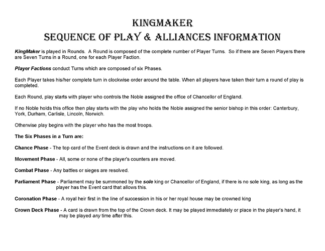 KingMaker Sequence of Play_Page_1