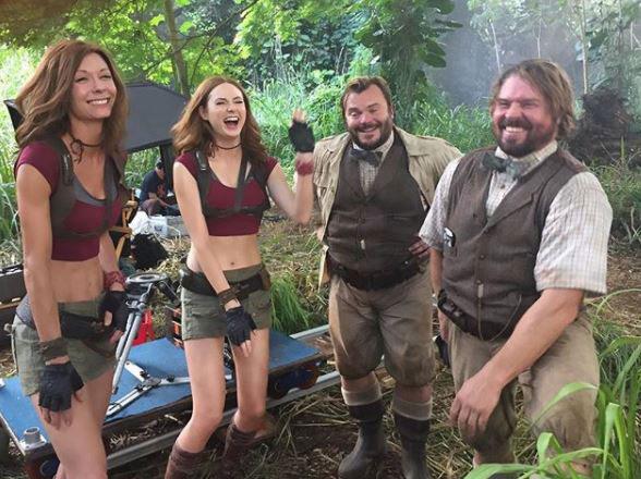 laughing-on-set-Jack-Black-Karen-Gillan-celebrity-trainer-secrets-how-Karen-Gillan-got-fit-for-Jumanji-by-healthista